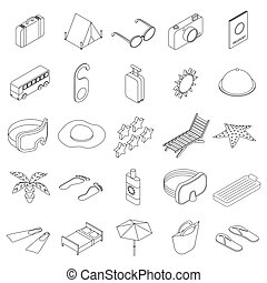 Travel icons set, isometric 3d style - Travel icons set in...