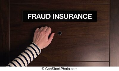 Woman knocking on fraud insurance - Female hand knocking on...