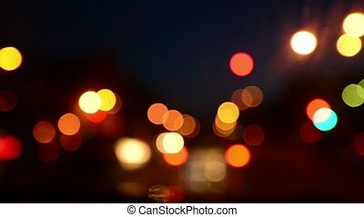 City traffic bokeh light at night