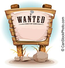 Cartoon Wood Sign With Wanted On Torn Paper - Illustration...