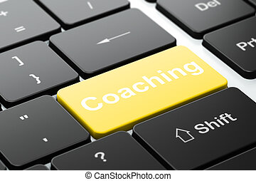 Studying concept: Coaching on computer keyboard background