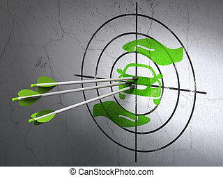 Insurance concept: arrows in Car And Palm target on wall background