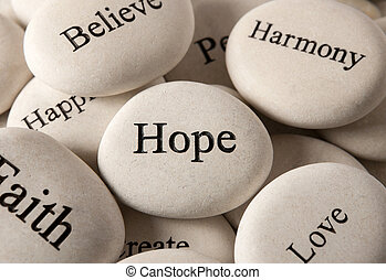 Inspirational stones - Hope - Close up of engraved stones