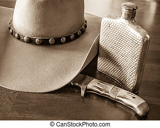 Cowboy Hat, Flask, Knife - Hat with studded hat band, silver...