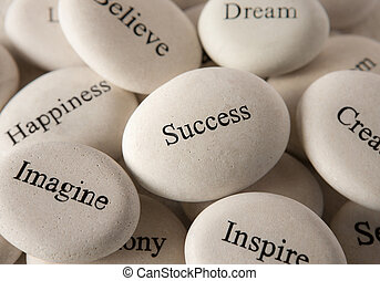 Inspirational stones - Success - Close up of engraved stones