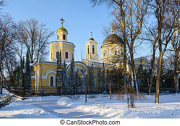 Church of St John Baptist in winter park, Gomel, Belarus -...