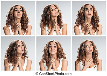 The set of female portraites with softened facial expression...