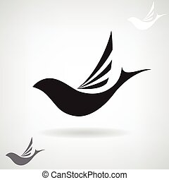 Stylized black silhouette of a flying bird.