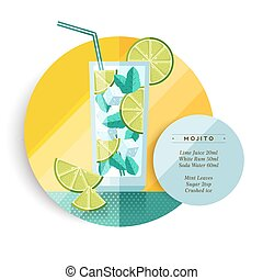 Mojito cocktail drink recipe design in flat art - Mojito...