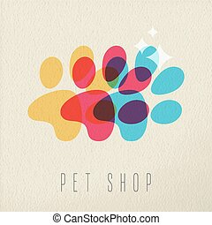 Pet shop color dog paw concept illustration