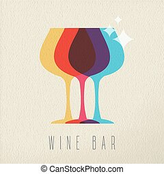 Wine bar concept glass drink icon color design - Wine bar...