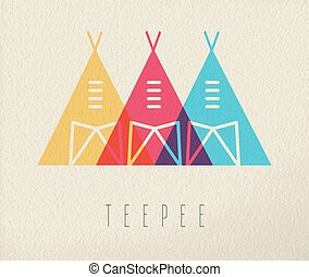 Tepee native american icon concept color design - Tipi tent...