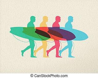 Lets go surfing summer time color concept design