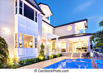 Beautiful and attractive house at coast in the night