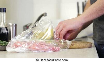 Steak marinade in kitchen in day