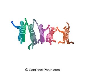 happy childrens - Silhouette of happy childrens