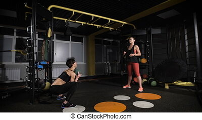 Crossfit ball fitness workout two woman two cute athletes...
