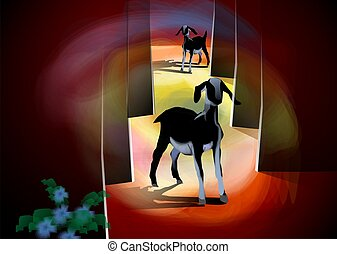 Two goats - Digital image of two goats walking with...