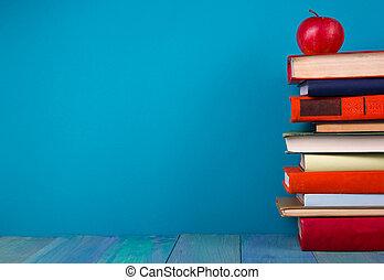 azul, colorido, espacio, Libros, libre, Plano de fondo,...