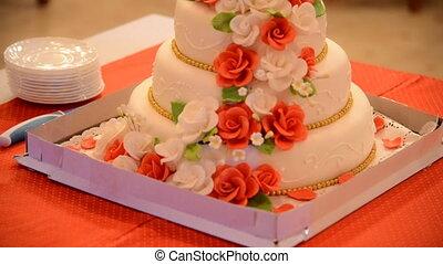 Beautiful wedding cake displayed on table