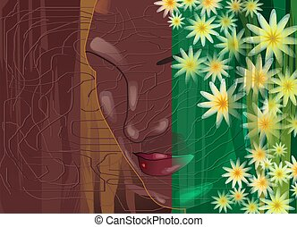 painting - Digital painting of silhouette of lady with...