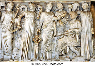 Bas-relief and sculpture of ancient Roman Gods