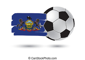 Soccer ball and Pennsylvania State Flag with colored hand...
