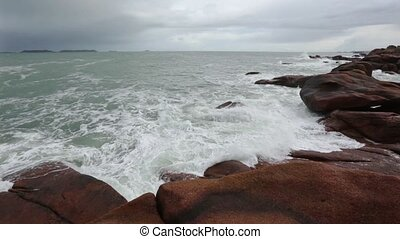 The Pink Granite Coast France - Ocean coast spring view...