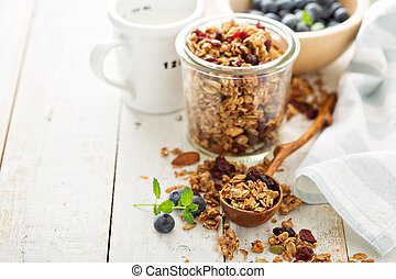 Homemade granola with milk for breakfast - Homemade granola...