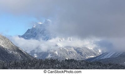 Winter mountain landscape Austria, - Winter Zugspitze mount...