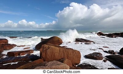 The Pink Granite Coast France - Ocean coast spring view with...