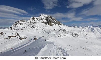 Winter Ski Resort in Austria - Alpine skiing tracks Morning...
