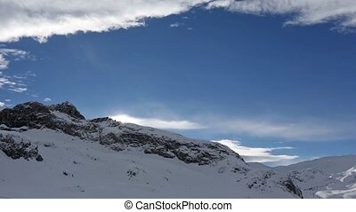 Winter Morning Rock Top View - Morning winter Silvretta Alps...
