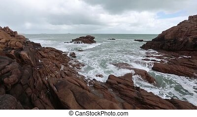 The Pink Granite Coast Cloudy View - Ocean coast spring...