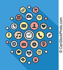 Social app icon background in line art syle