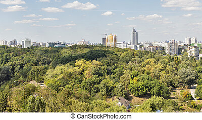 Kiev cityscape, Ukraine - Kiev Solomenka district cityscape,...