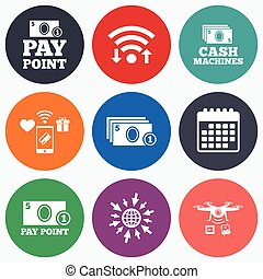 Cash and coin icons Money machines or ATM - Wifi, mobile...