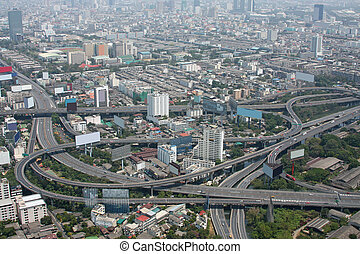 Highway intersection - Aerial view of freeway interchange....