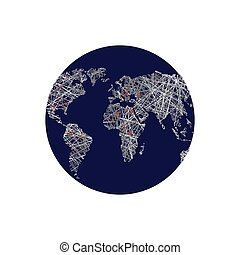 Black earth. Linear world map. Red lights capitals. World Atlas. Means of communication and relationships on planet Earth
