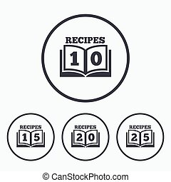 Cookbook icons Twenty five recipes book sign - Cookbook...