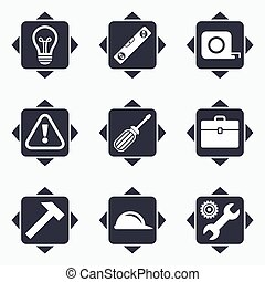 Repair, construction icons Engineering signs - Icons with...