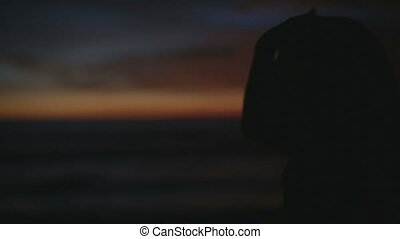 woman looking at sunset on the beach