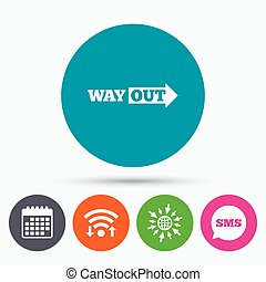 Way out right sign icon. Arrow symbol. - Wifi, Sms and...
