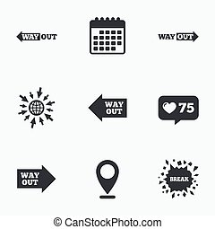 Way out icons Left and right arrows symbols - Calendar, like...