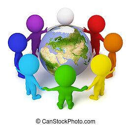 3D, pequeno, pessoas, -, paz, terra