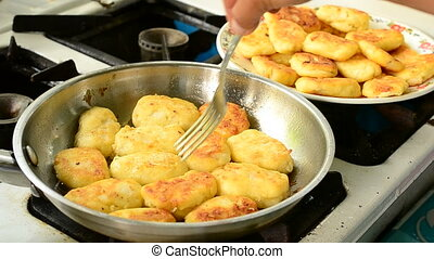 Frying Cottage Cheese Pancakes on Frying Pan at Home