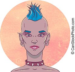 Portrait of a young girl with mohawk hairstyle and piercings...