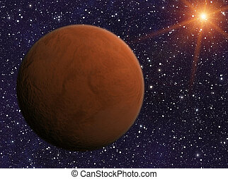 red planet on cosmos stars backgrounds - red planet on...