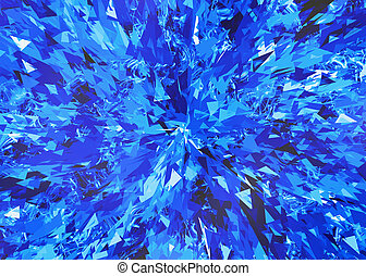 burst of blue broken particle crystals