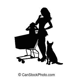 girl with baby and animal silhouette illustration